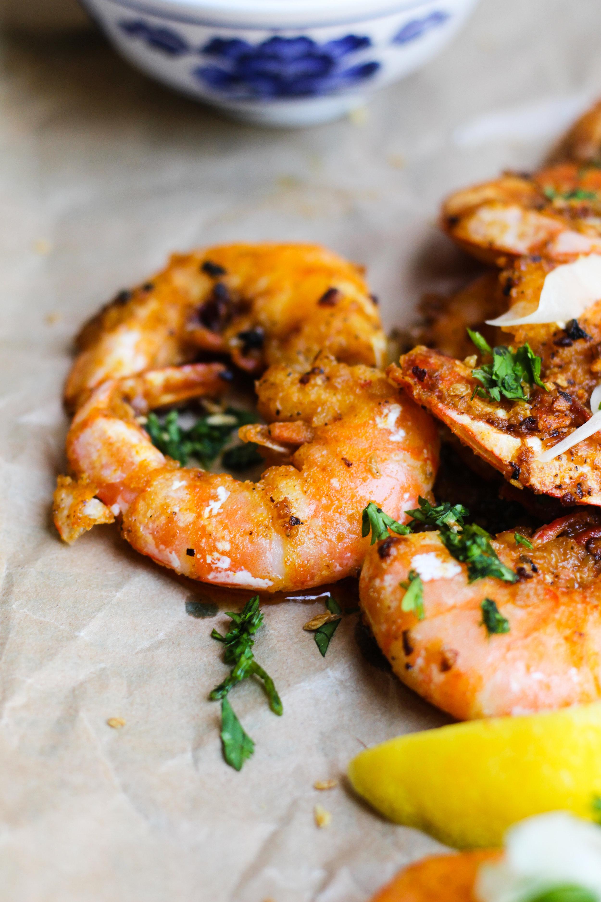 Hawaiian Garlic Shrimp with a Sweet Onion Salad