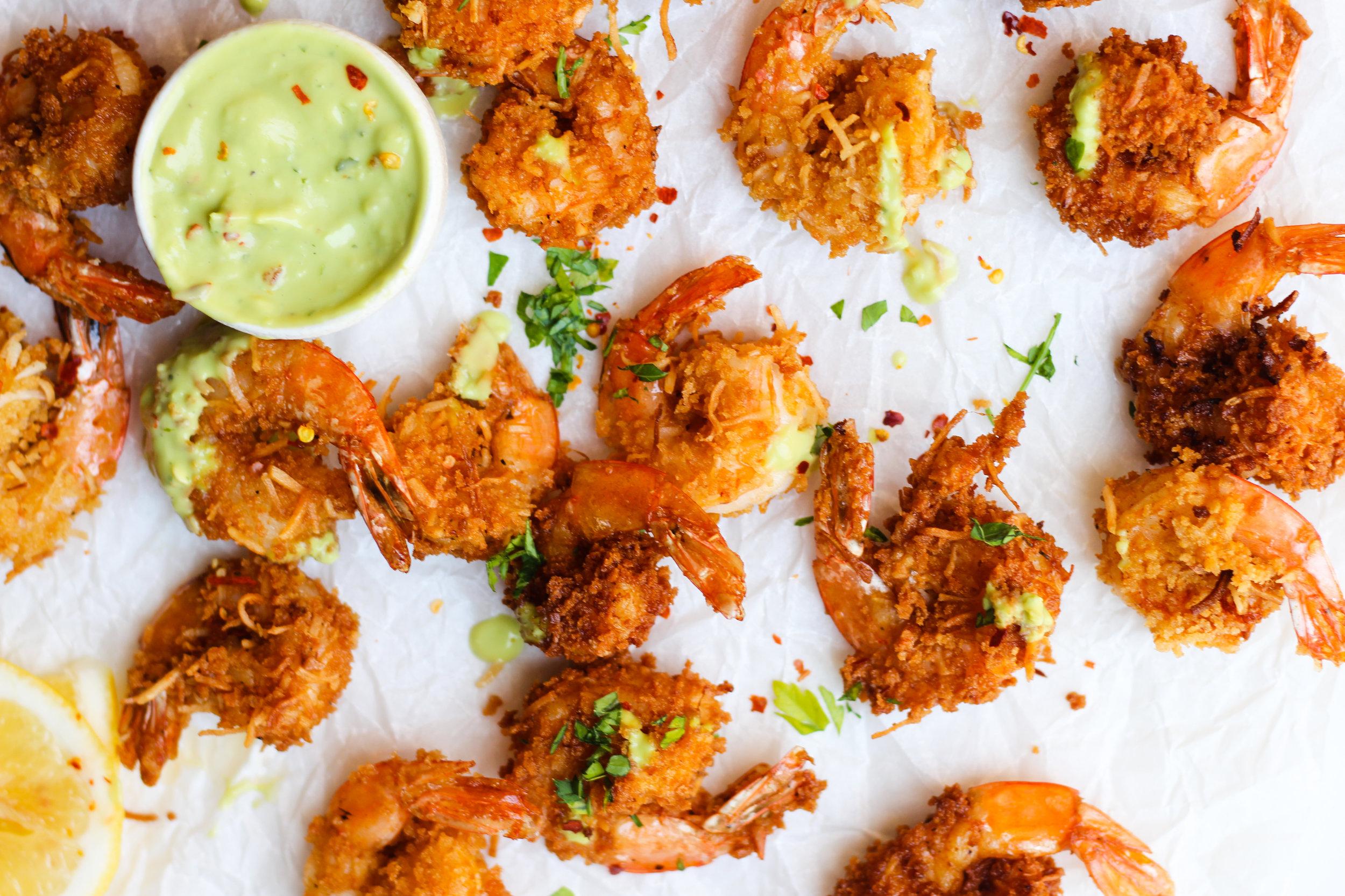 Coconut Shrimp With Avocado Hot Sauce