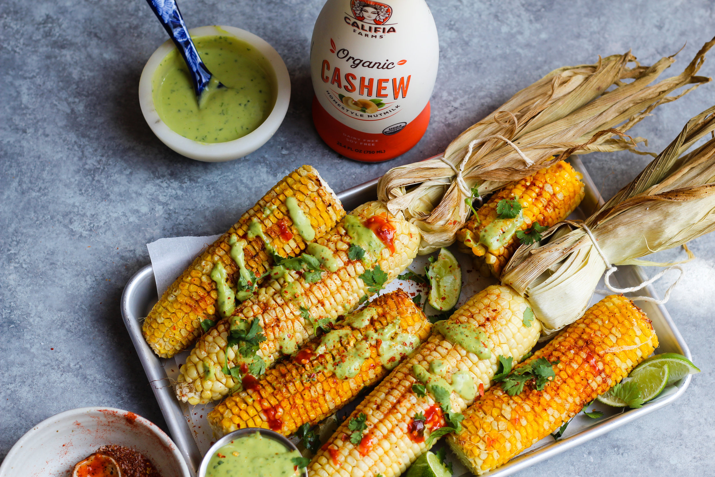Grilled Corn With Avocado Crema