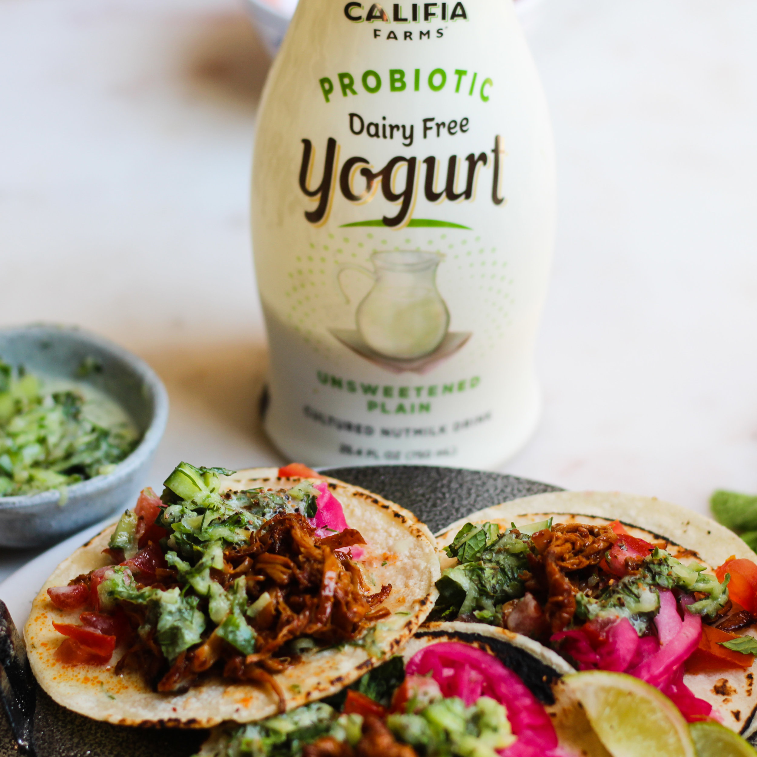 Shredded Mushroom Tacos with Tzatziki Dressing