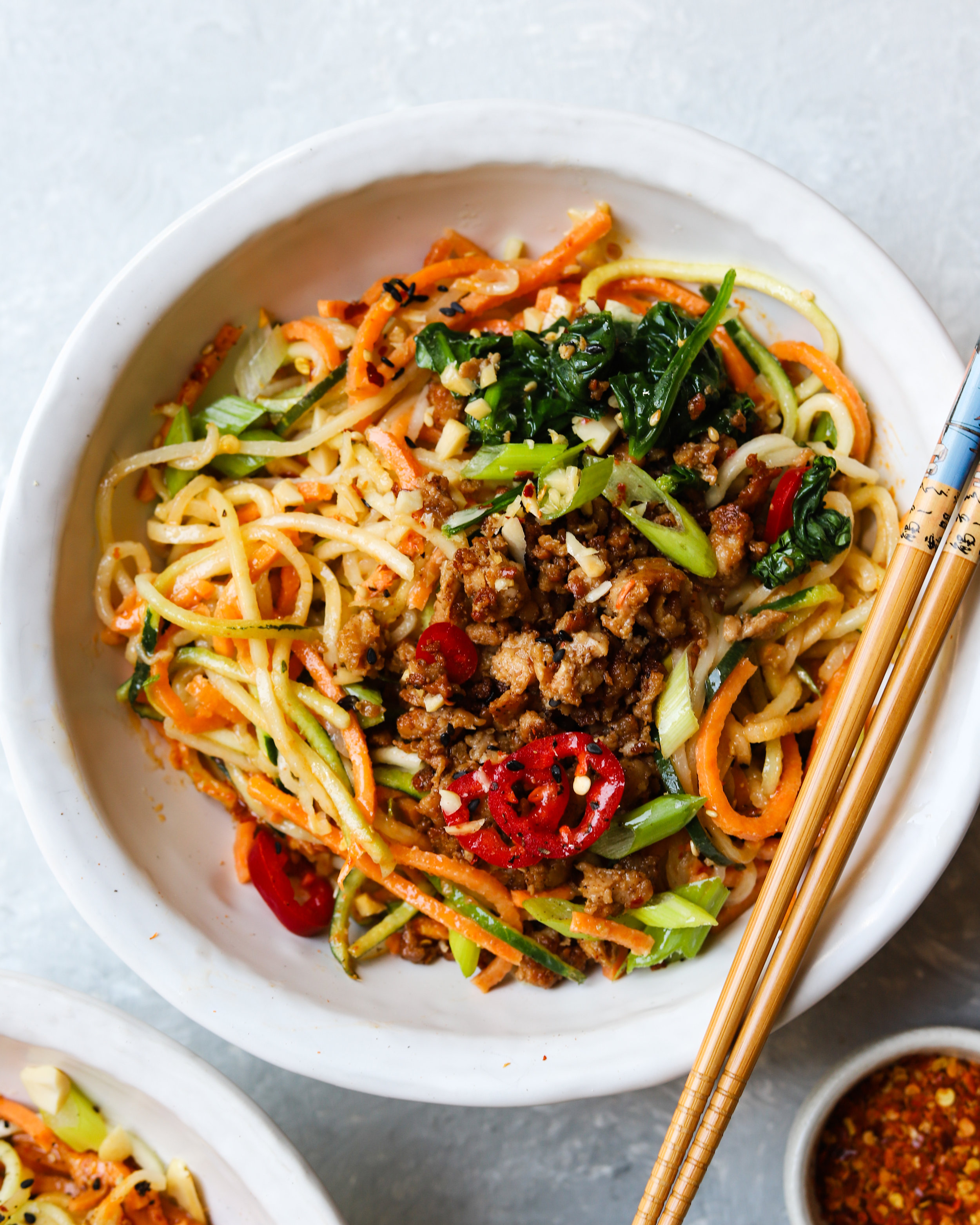 Spicy Dan Dan Zoodles with Ground Chicken