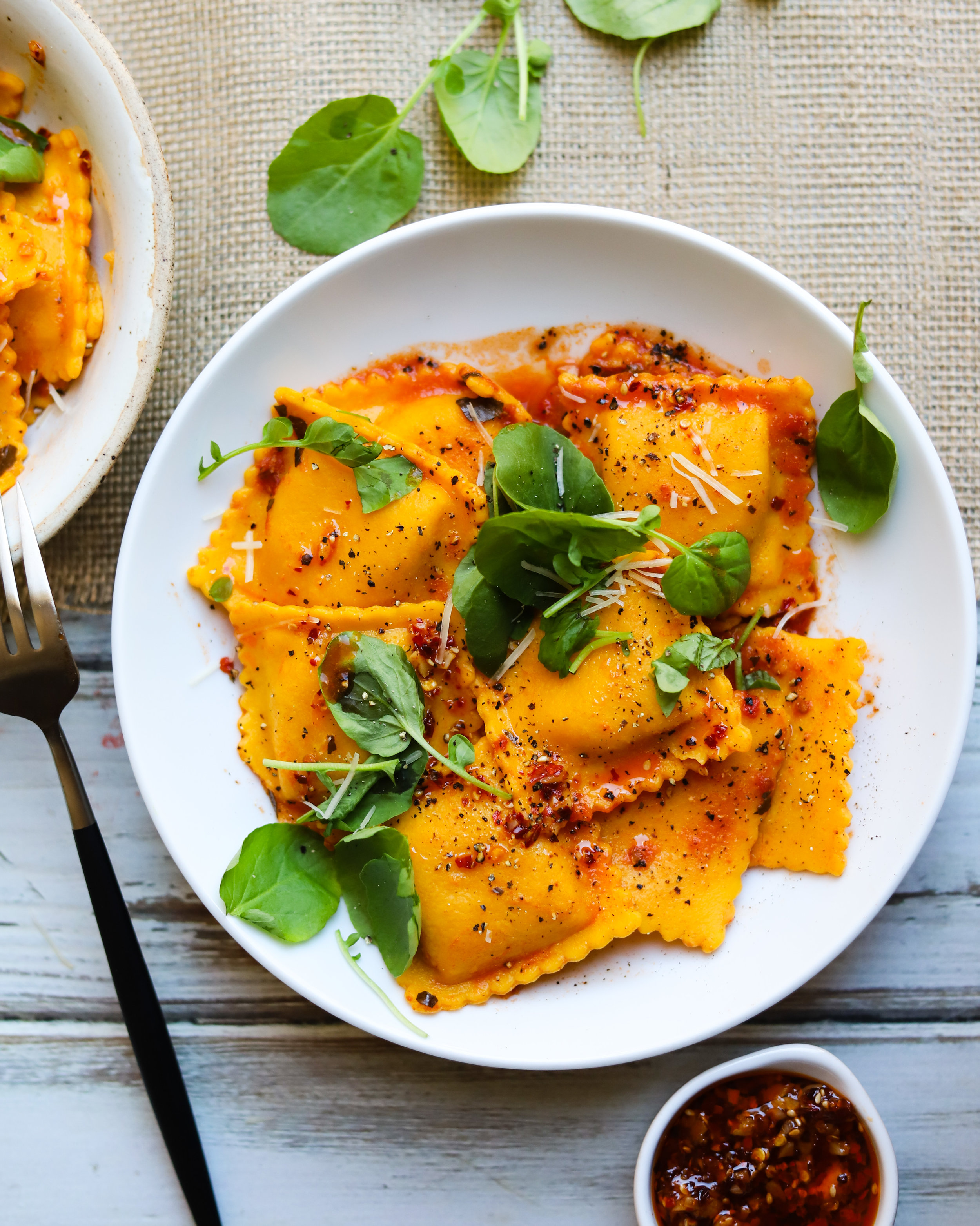 Butternut Squash Ravioli with Homemade Chili Oil Crunch