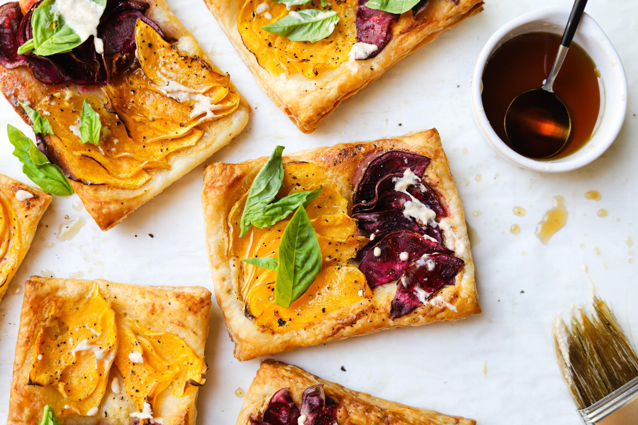 Butternut Squash Tarts with Pumpkin Cashew Crema