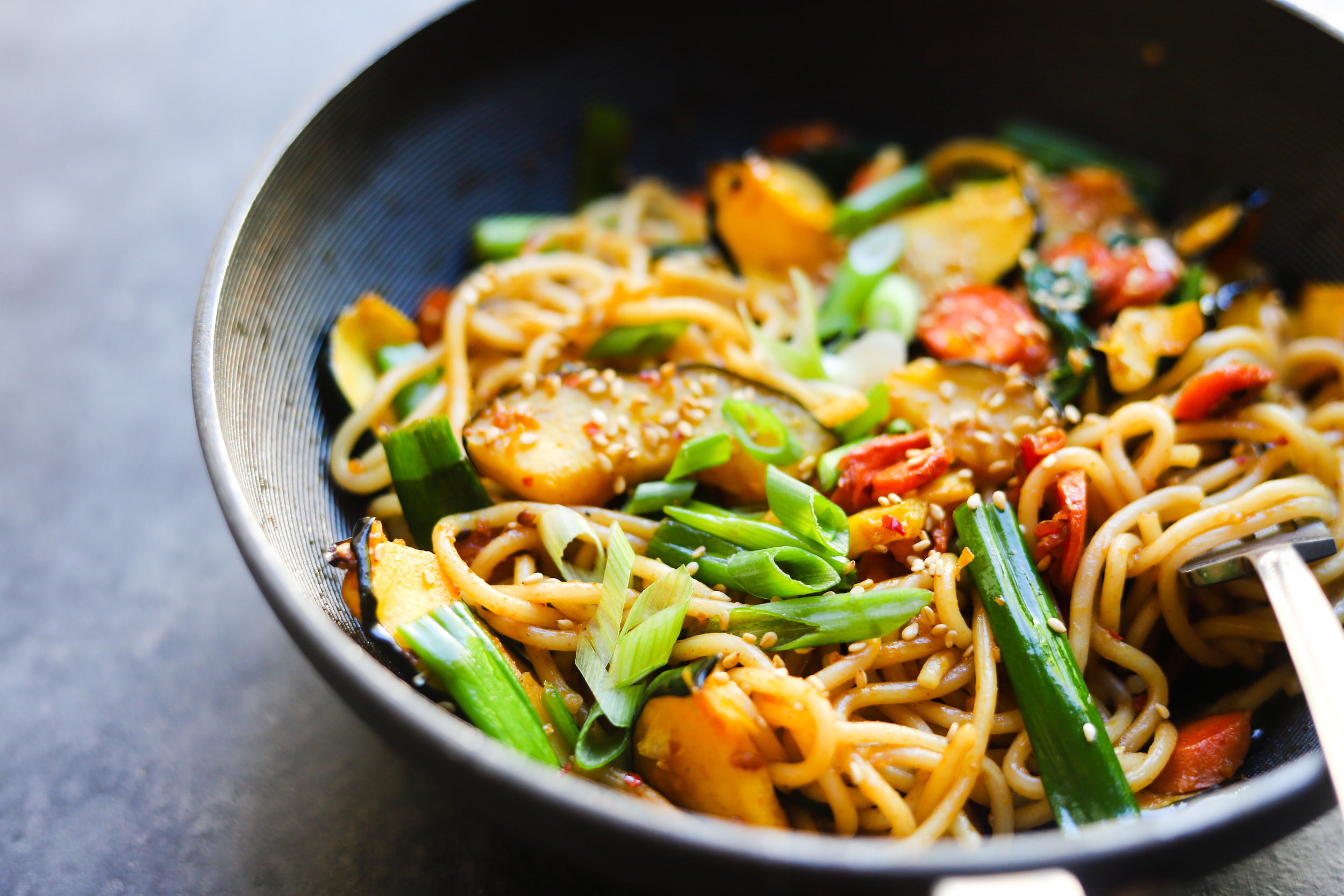 Fall Stir Fry Ramen with Squash, Carrots and Spinach