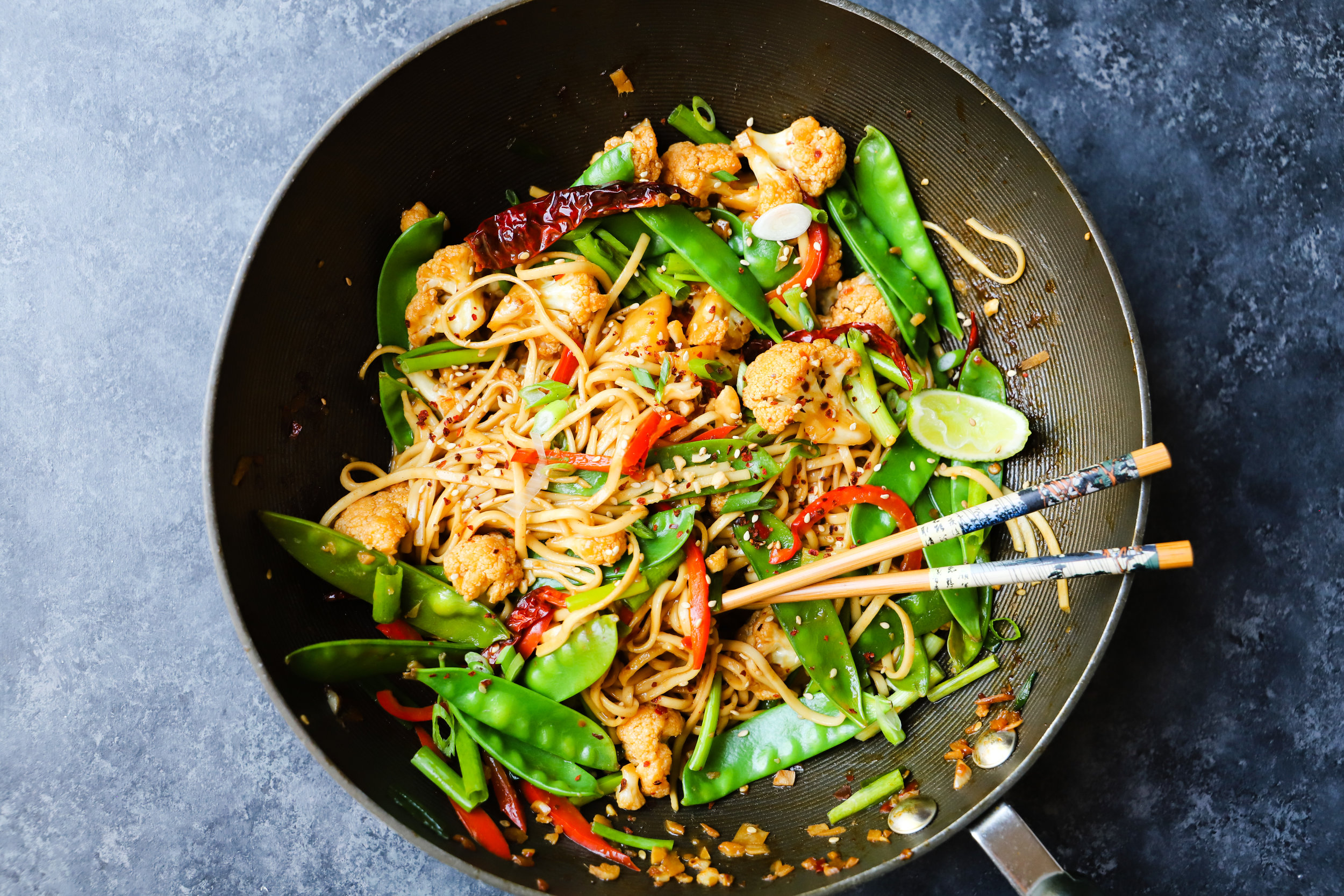 Cauliflower Kung Pao Noodles
