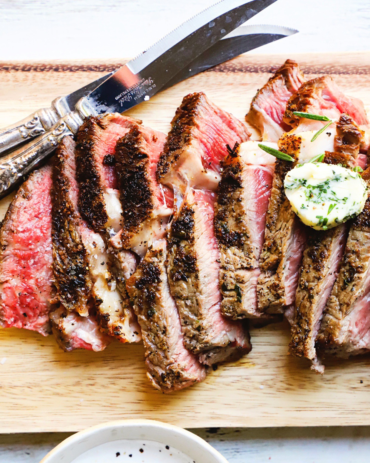 Ribeye Steak with Herb Honey Butter