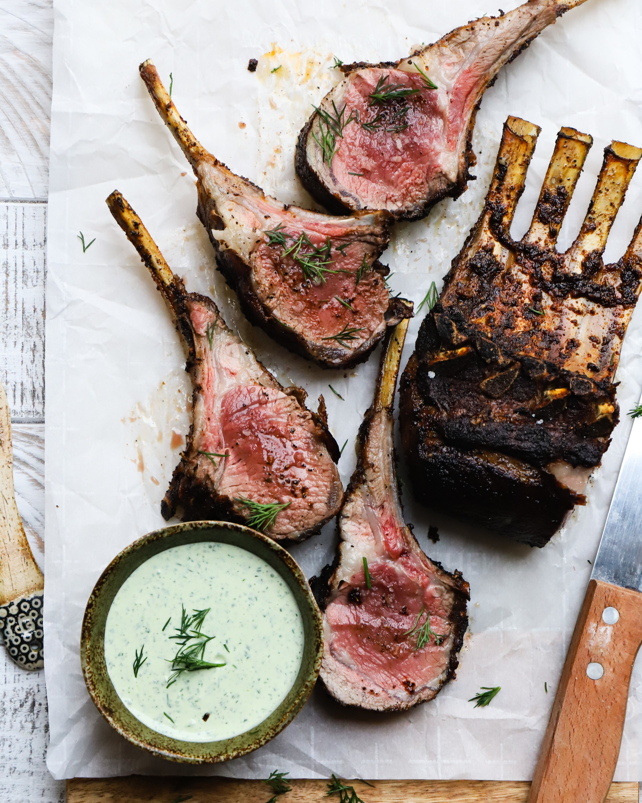 Za'atar + Sumac Rack of Lamb with Herb Yogurt Sauce