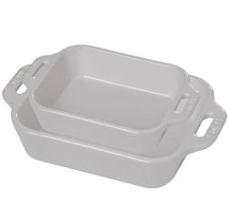 Staub 2-Piece Rectangular Baking Dish Set in White