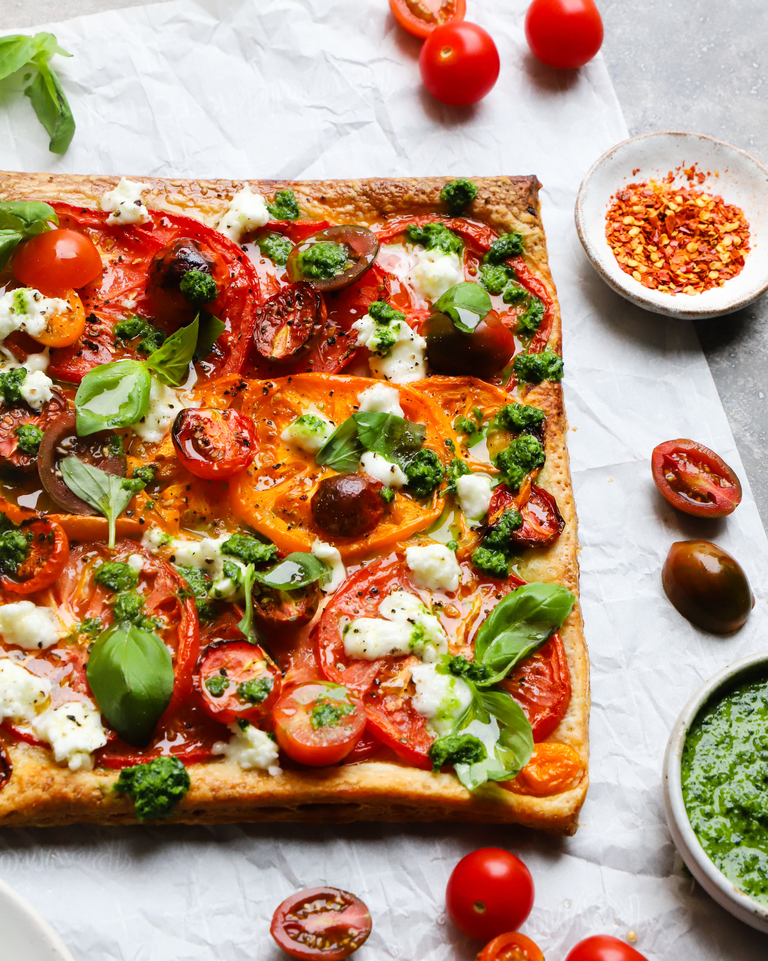 Heirloom Tomato Tart with Cilantro Chutney