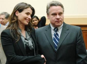Julia Ormond meets U.S. Representative Chris Smith (NJ-4) while testifying at the Helsinki Commission