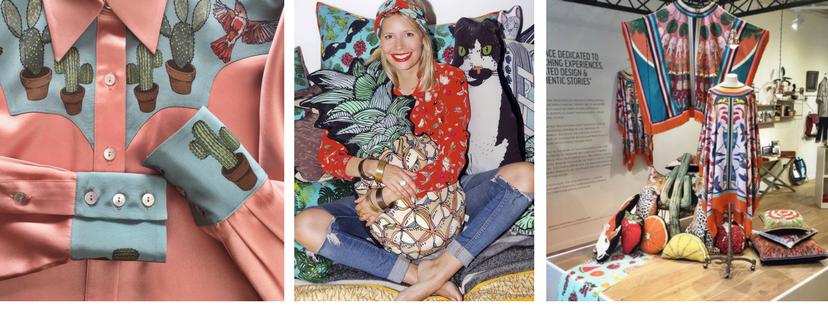 Vicki Murdoch and her silken creations. . .