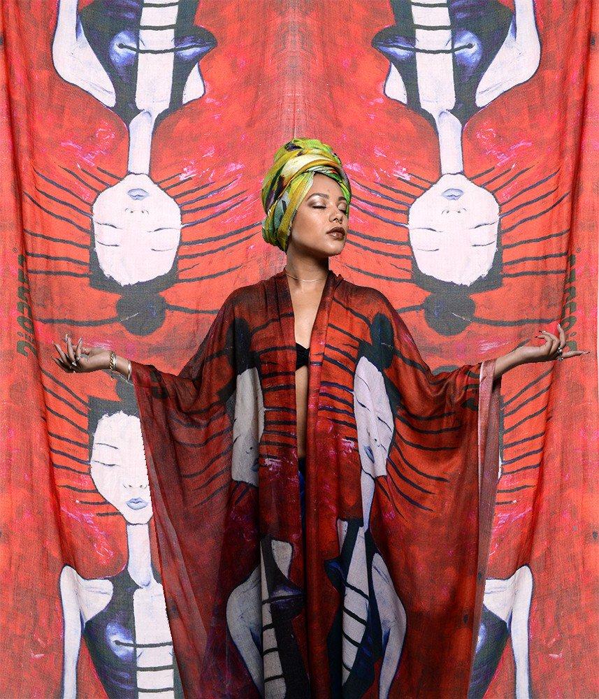 Hand-painted 'Arcadian girl' silk scarf