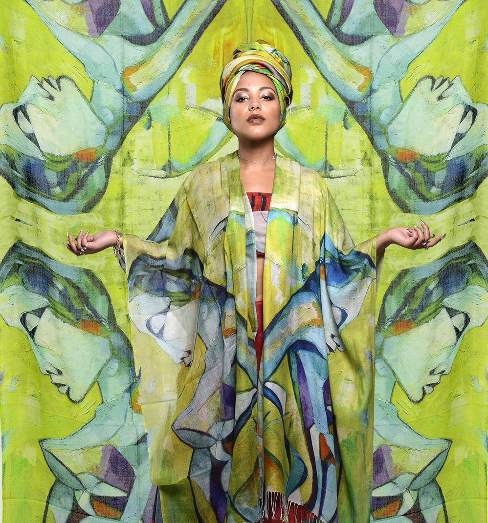 Hand-painted 'robot girl' silk scarf