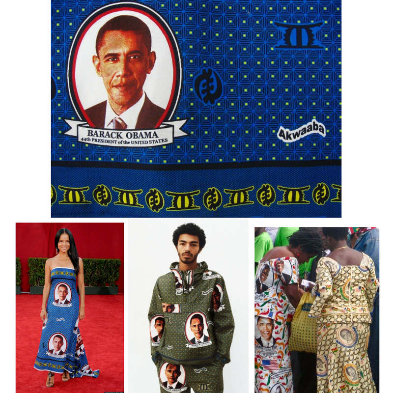 Original Obama print from 2009, also worn by actress Victoria Rowells, Supreme NYC Obama print and African women in commemorative Obama textiles.