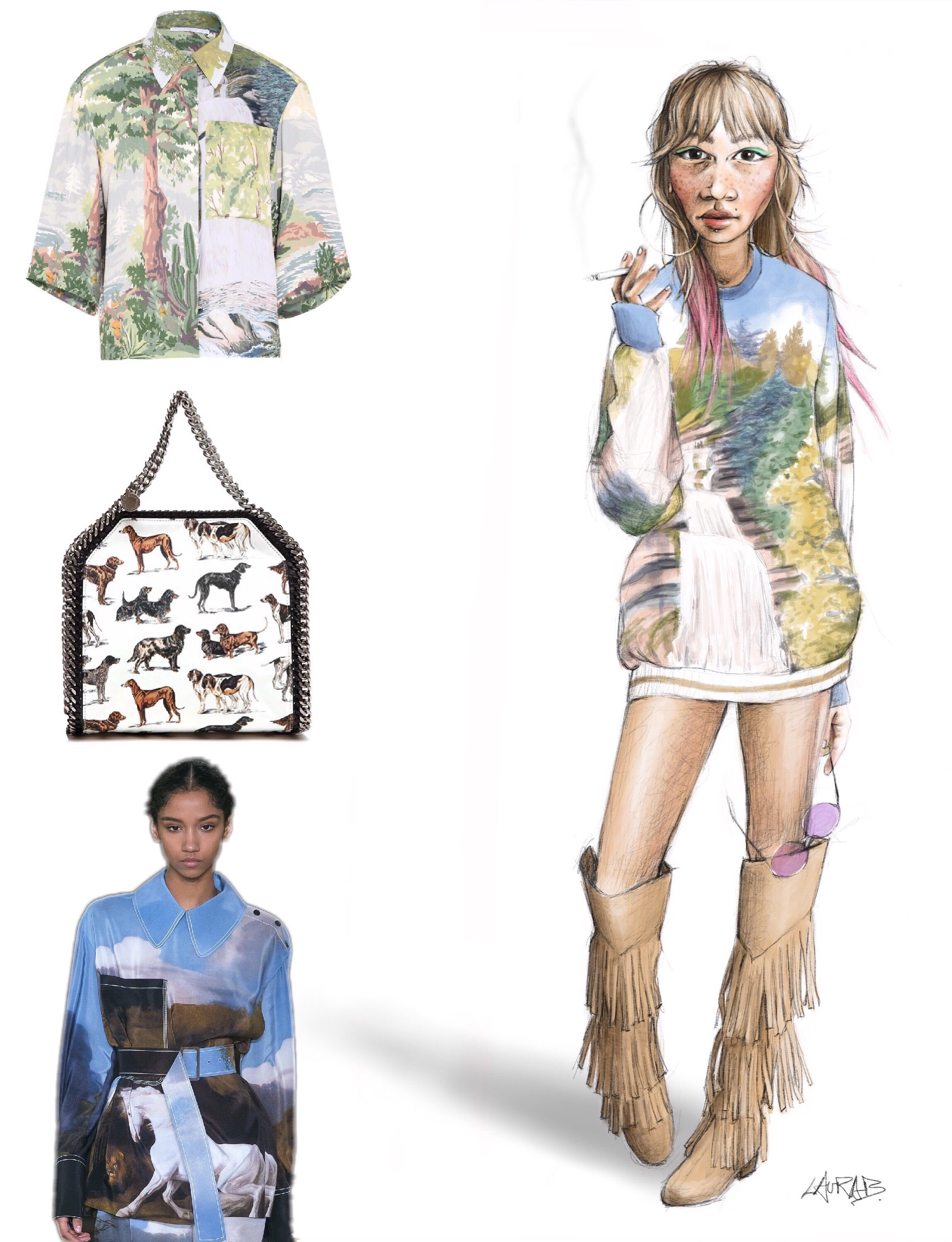My illustration featuring a silk landscape print 'Ines' top by Stella McCartney