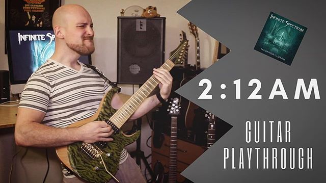 In honor of 2/12, here is a guitar play through of our very own @alexraykin performing our song 2:12am from the Haunter of the Dark album. Let us know what you're up to this Tuesday! Click the link in our profile to watch now! #haunterofthedark #hplovecraft #infinitespectrum #212am #guitarplaythrough #metal #progressivemetal #progmetal