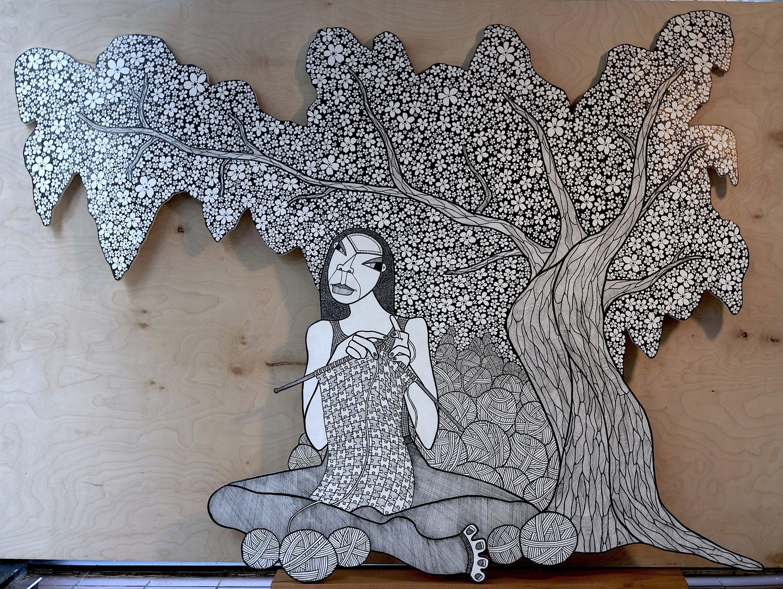 A CBD in D.C. ( A Cherry Blossom Dream in D.C.), ink on birch plywood, 48 x 68 inches, 2014