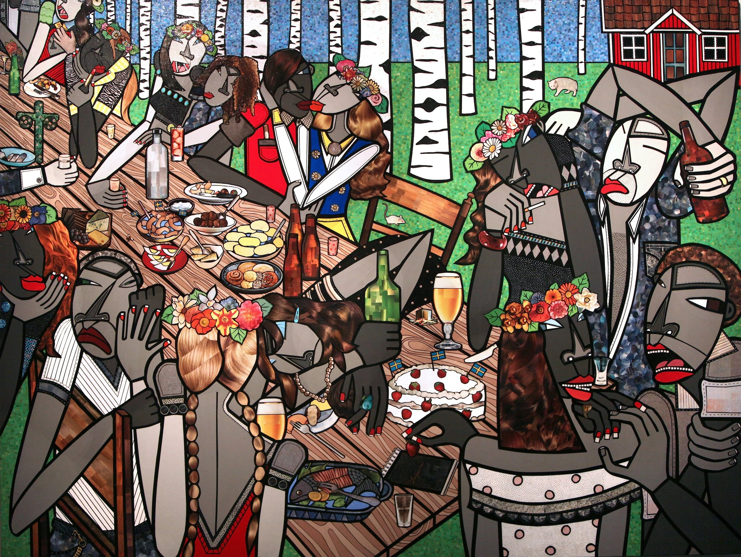 A Swedish Midsummer, acrylic and paper collage on canvas, 72 x 96 inches, 2009, private collection