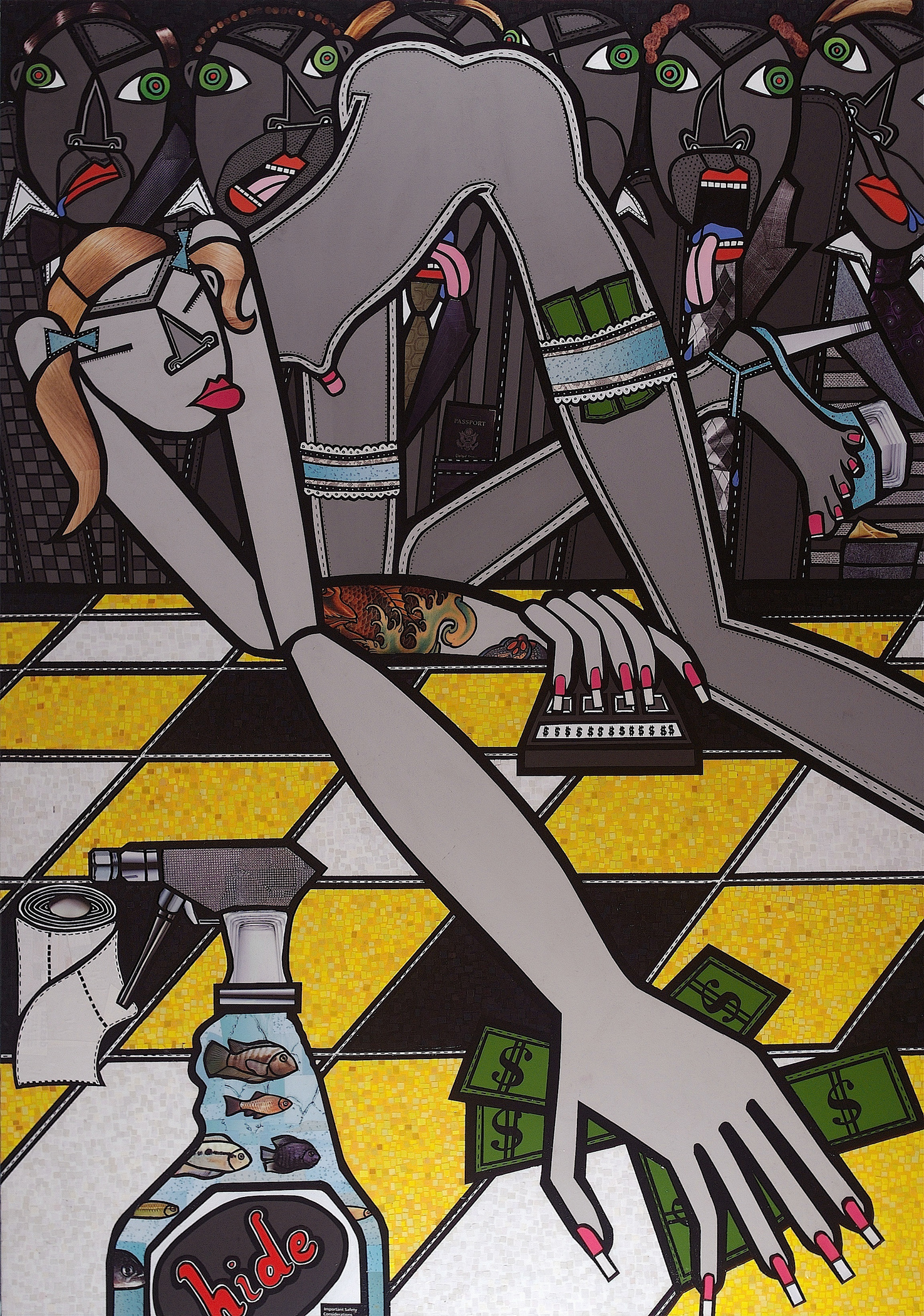 Bull's-eye, acrylic and paper collage on canvas, 2009, private collection