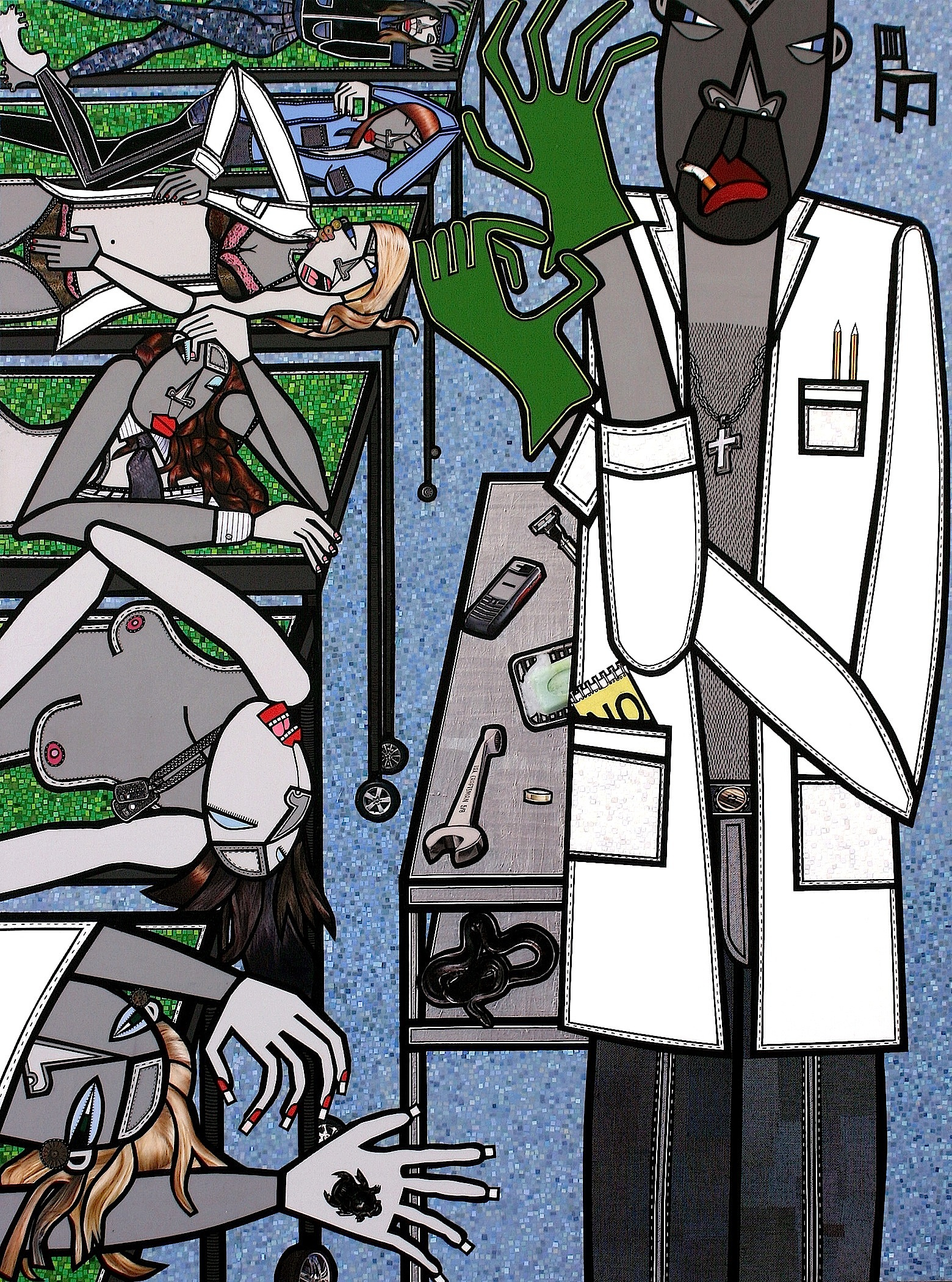 Undertaker, acrylic and paper collage on canvas, inches, 2009, private collection