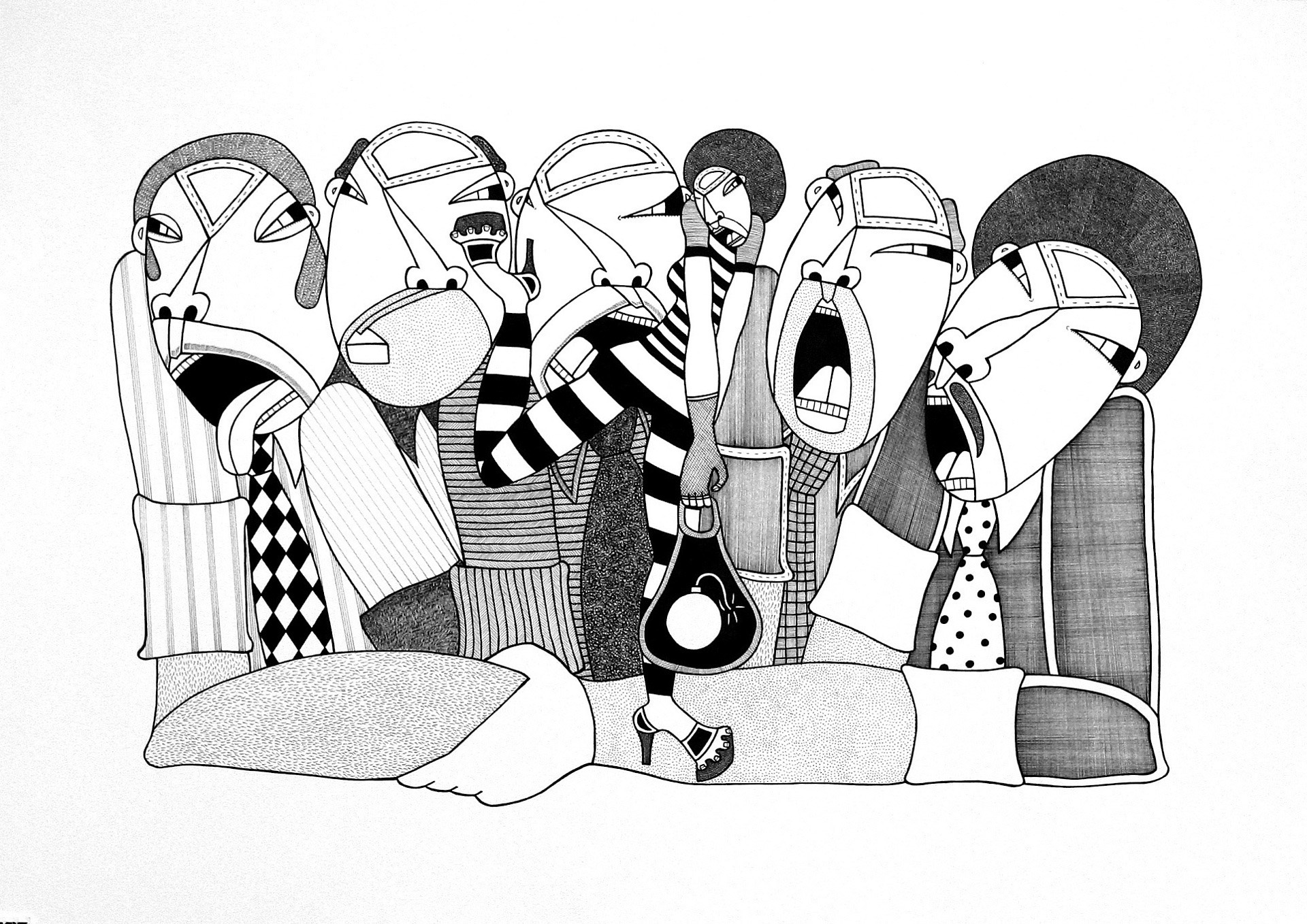 """Five Wise Men, ink on paper, 15"""" x 22"""", 2010, private collection"""