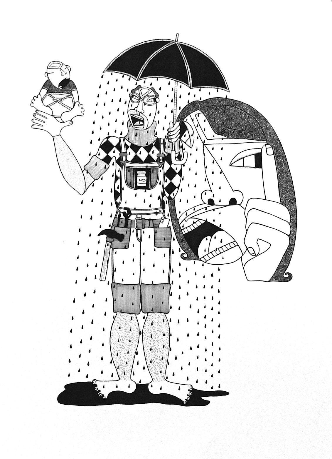 """Handy,  ink on paper, 30"""" x 22"""", 2010, private collection"""