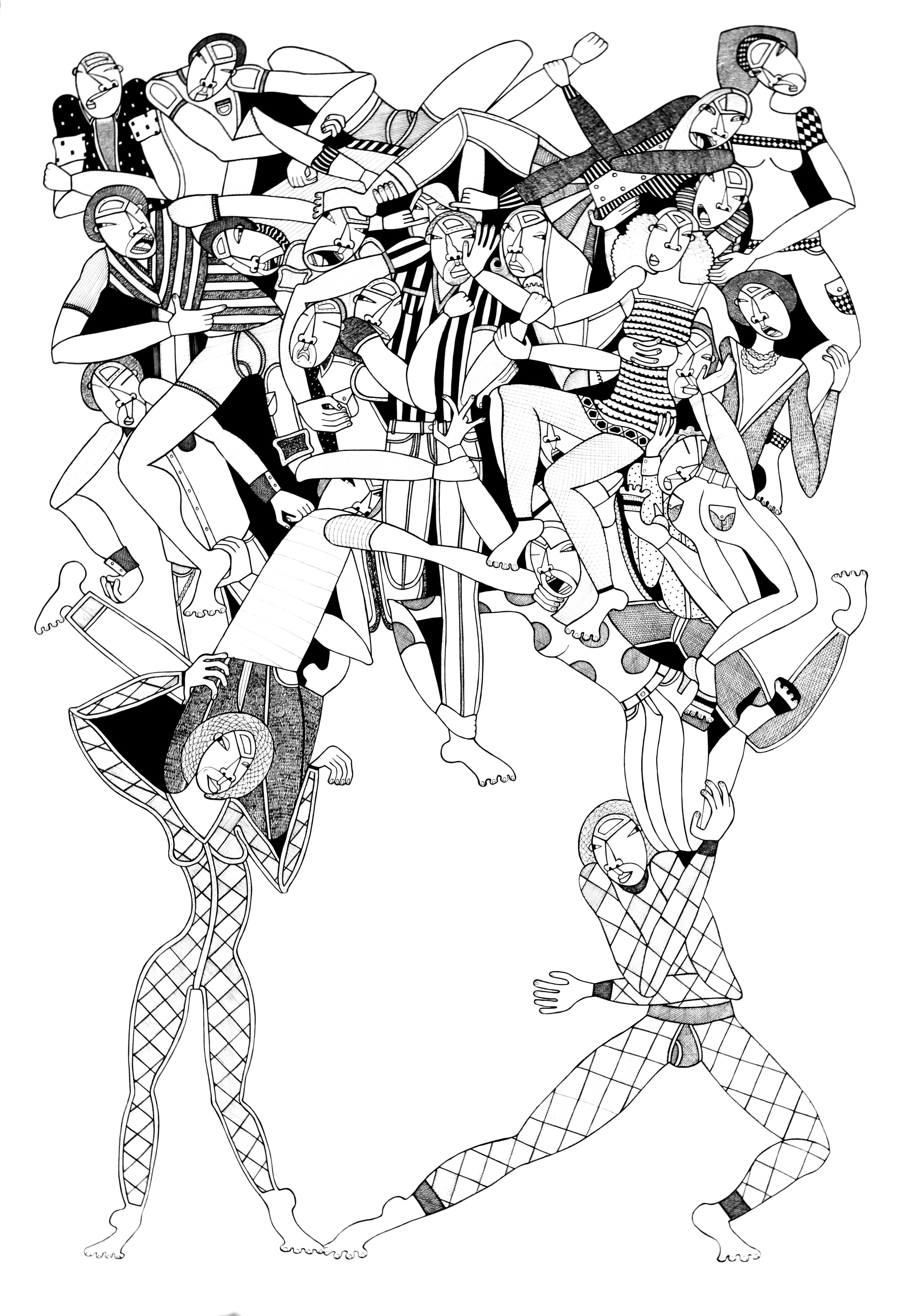 """Garden of Heathen, 44""""x 30"""", ink on paper, 2010, private collection"""