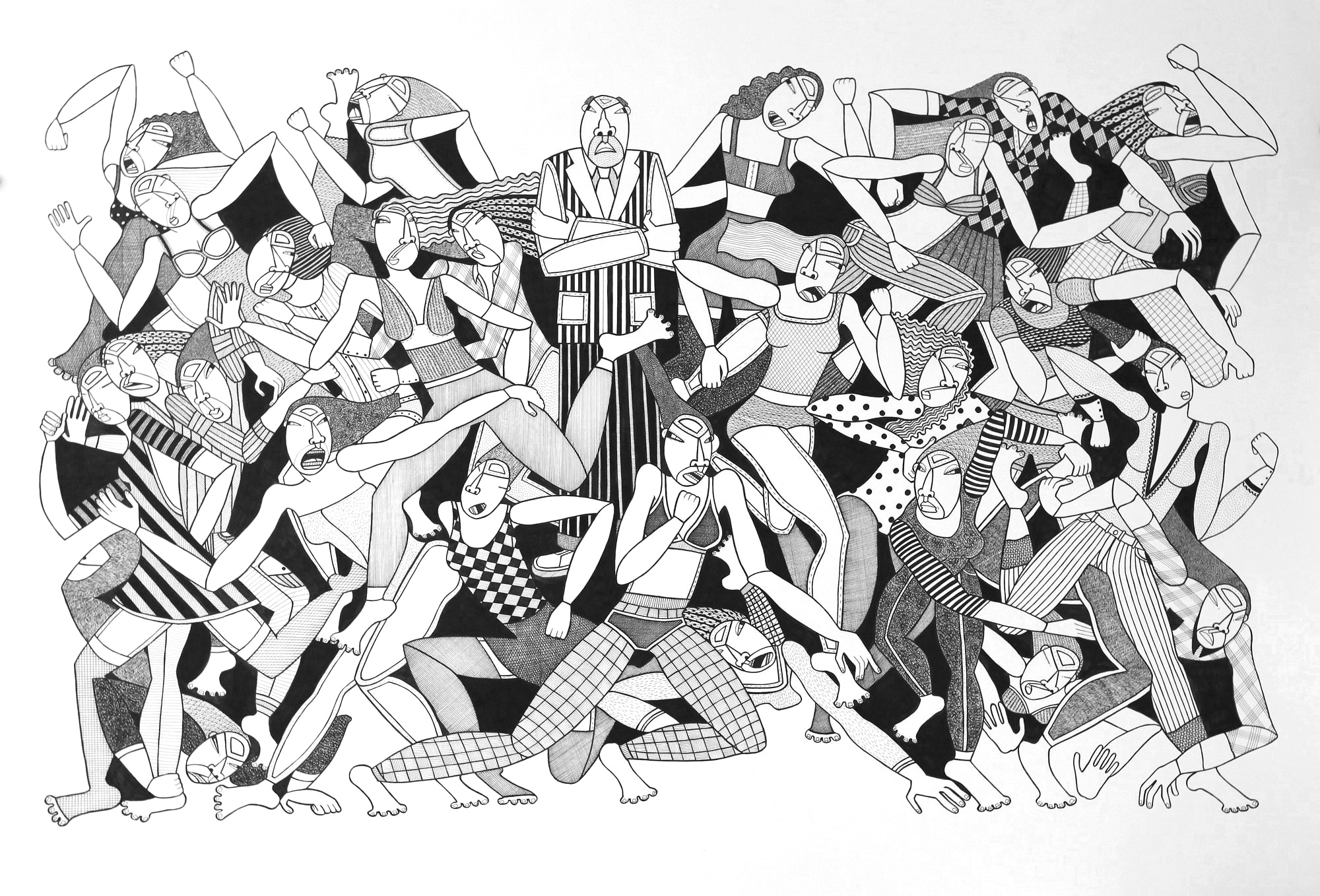 """Charlie's Angels, 44"""" x 30"""", ink on paper, 2010,  Permanent Collection, DC Government Art Bank, Washington, DC"""