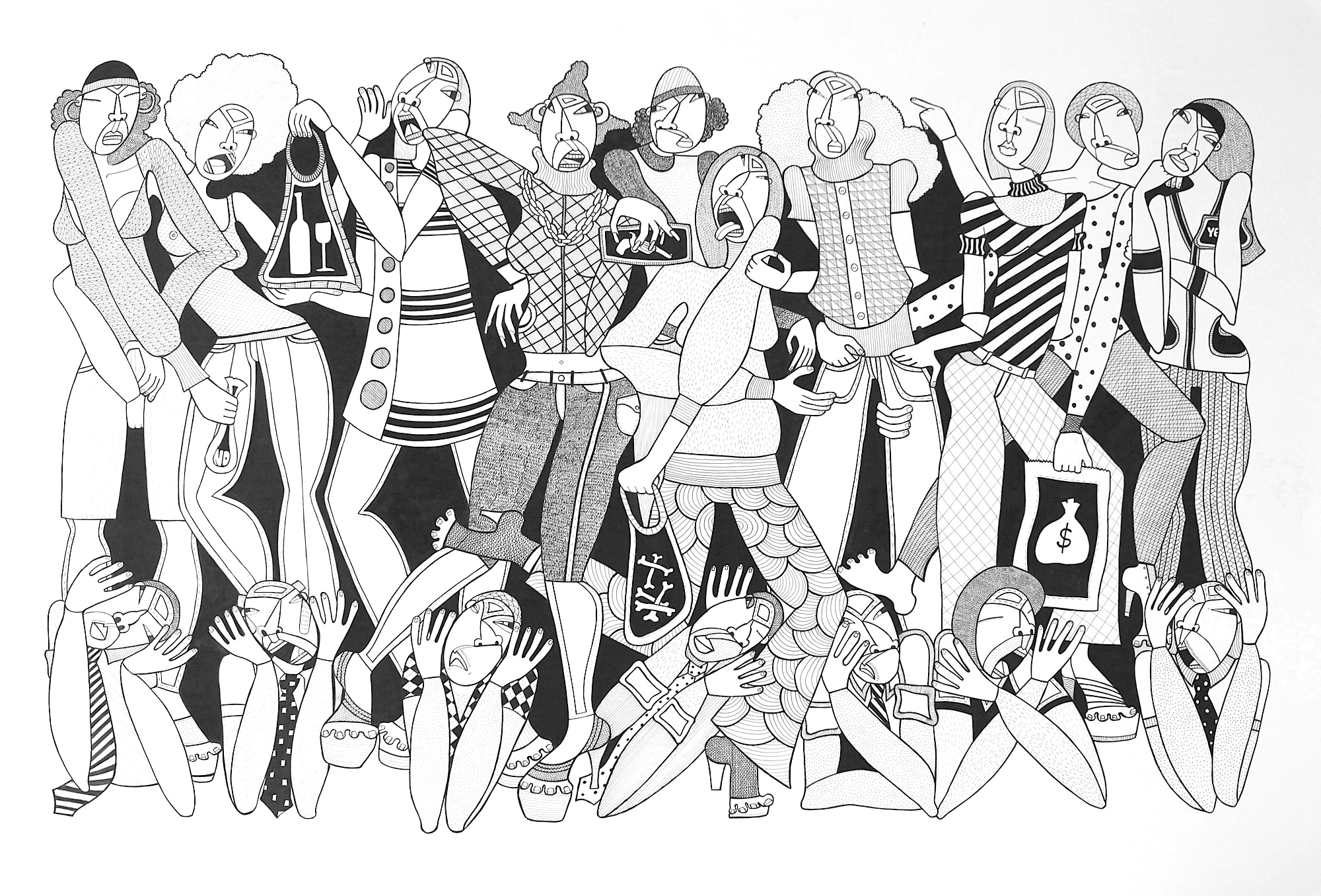 """Generation Next, ink on paper, 44"""" x 30"""", 2010, private collection"""