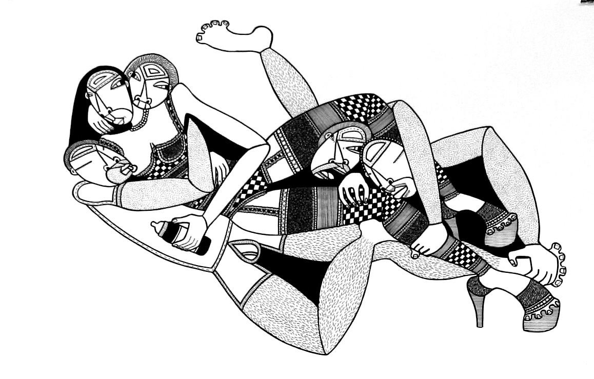 """Mama's Boys, ink on paper, 15"""" x 22"""", 2010, private collection"""