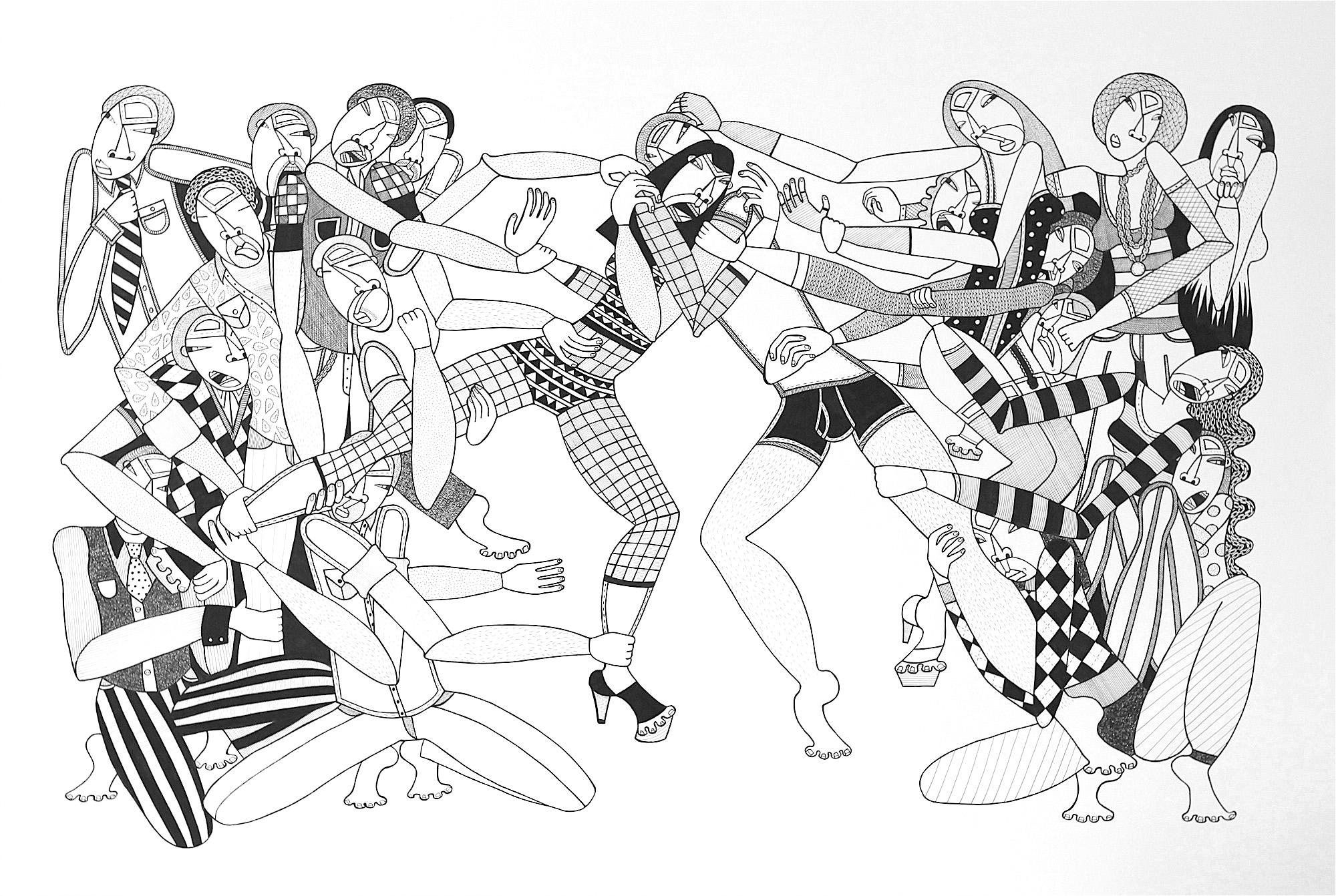 """Masochist Monogamist, 44"""" x 30"""", ink on paper, 2010"""