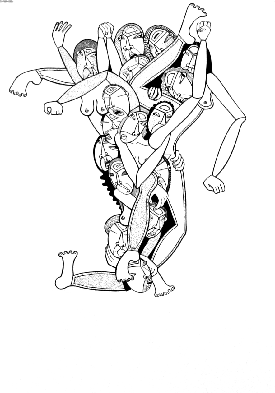 Contorted, ink on paper, 22 x 15 inches, 2010, private collection