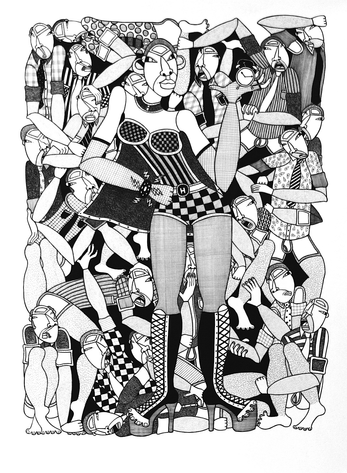 """Hildegard, ink on paper, 22"""" x 30"""", 2010, private collection"""