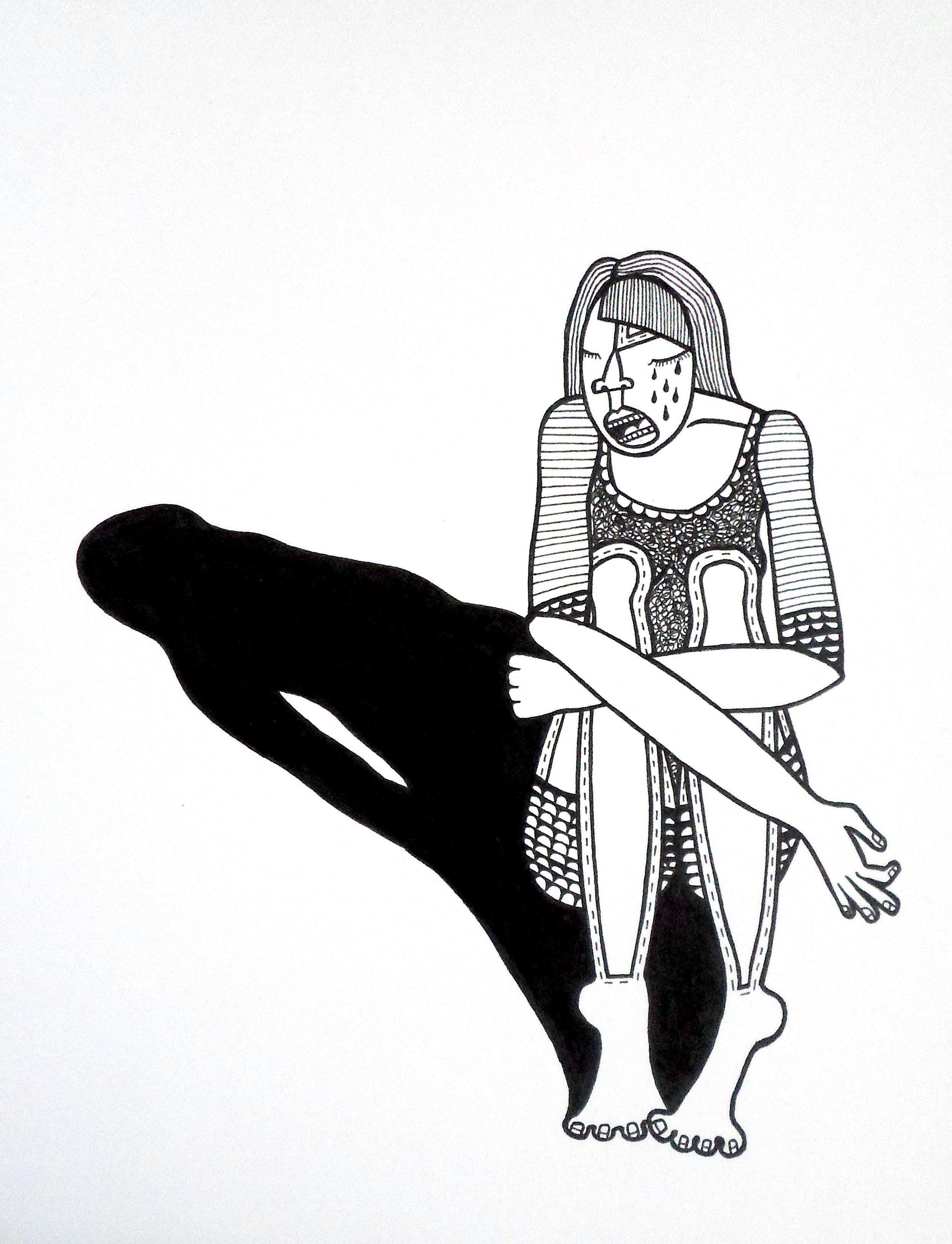 Sad Girl, ink on paper, 8 x 10 inches, 2015