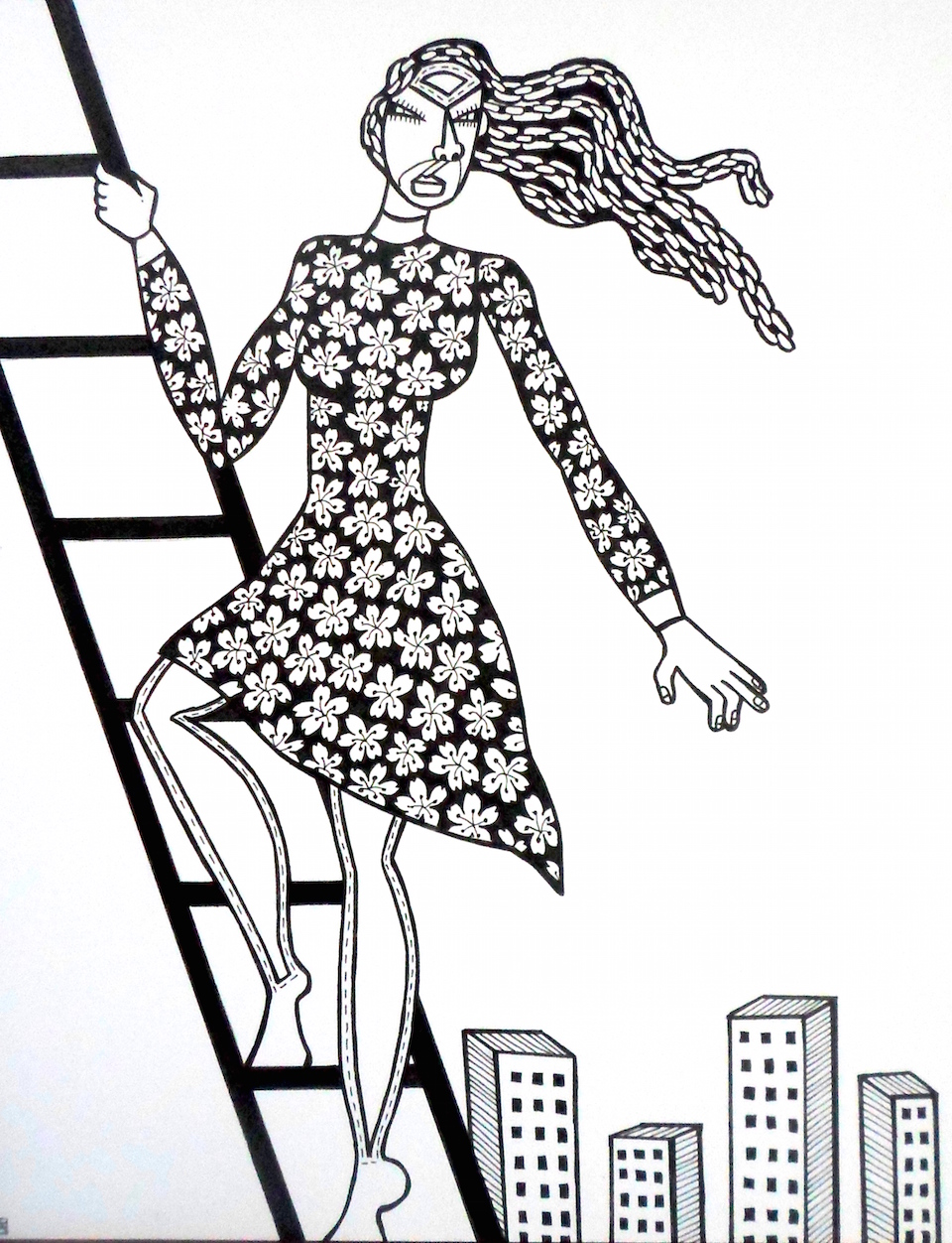 Liberated, ink on paper, 8 x 10 inches, 2015, private collection