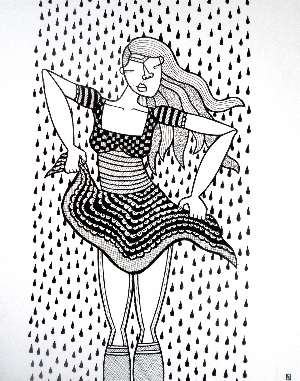Sassy Lady, ink on paper, 8 x 10 inches, 2015, private collection