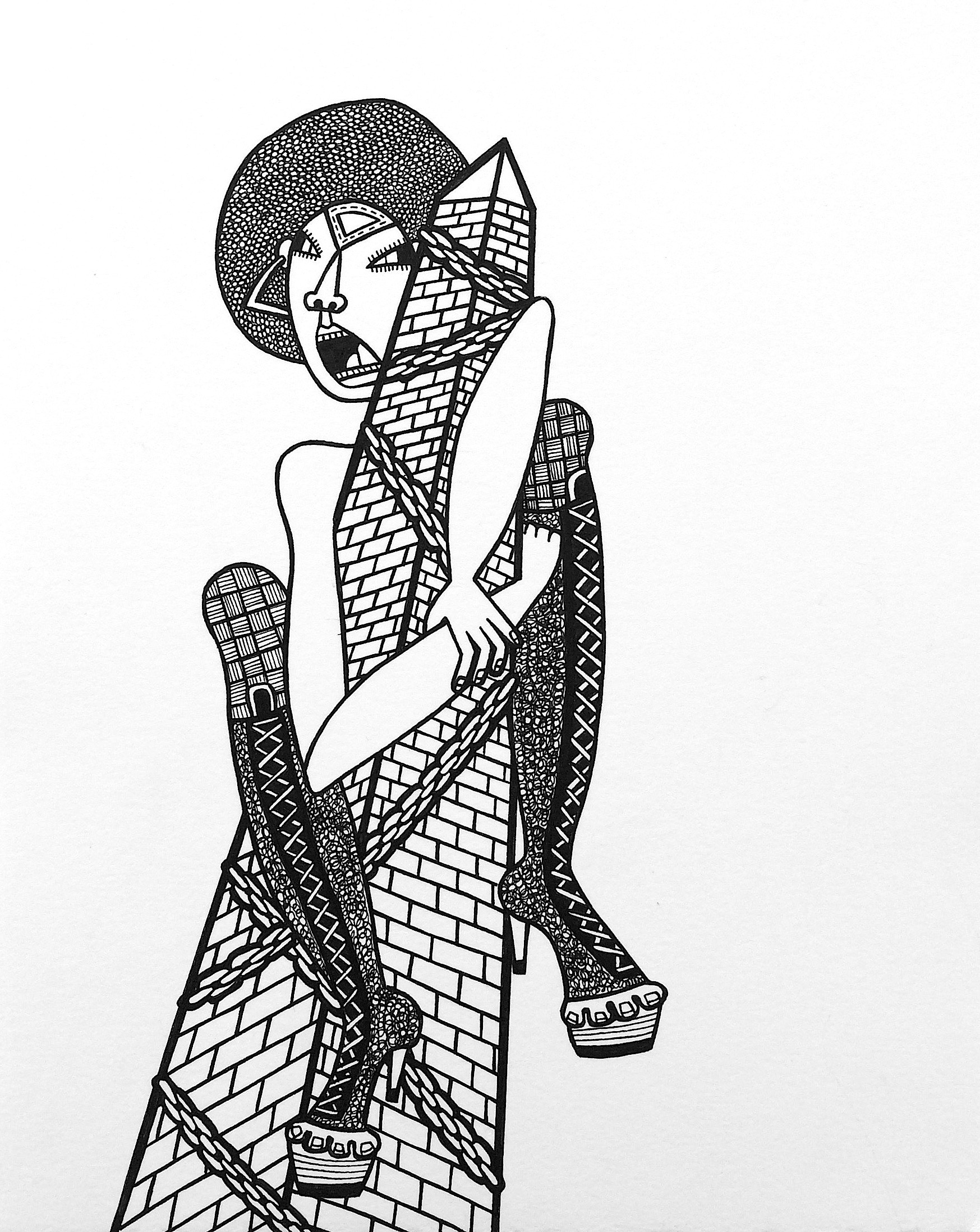 On Top, ink on paper, 10 x 8 inches, 2015, private collection