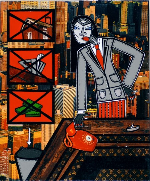 """Working Girl, acrylic and paper collage on canvas, 12""""x 10"""", 2007, private collection"""