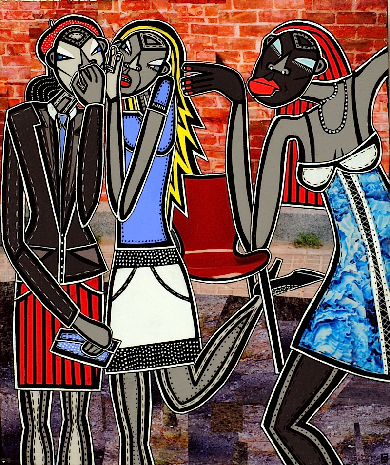 """Girls!, acrylic and paper collage on canvas, 12""""x 10"""", 2007, private collection"""