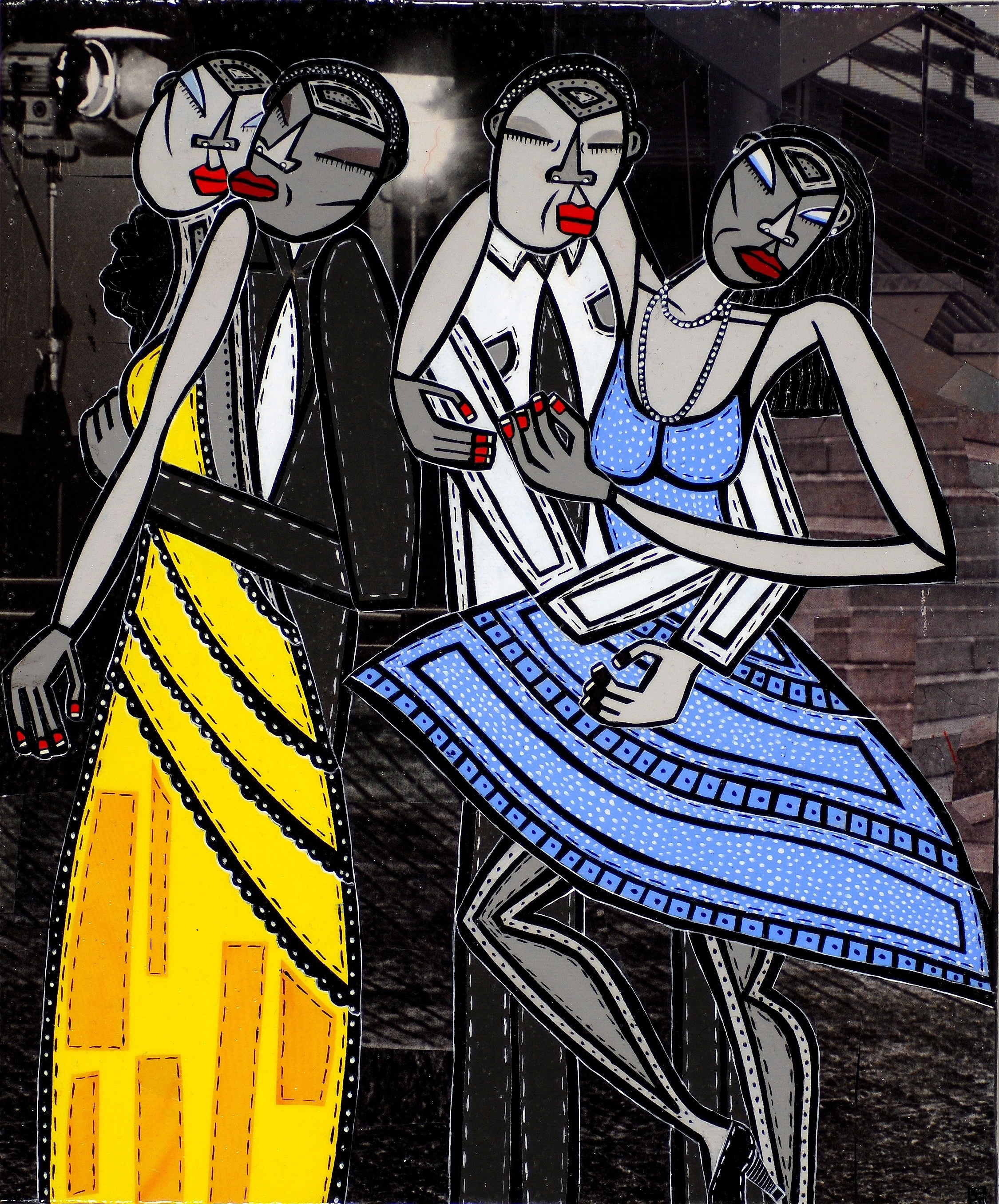 """Dancing Queens, acrylic and paper collage on canvas, 12""""x 10"""", 2007, private collection"""