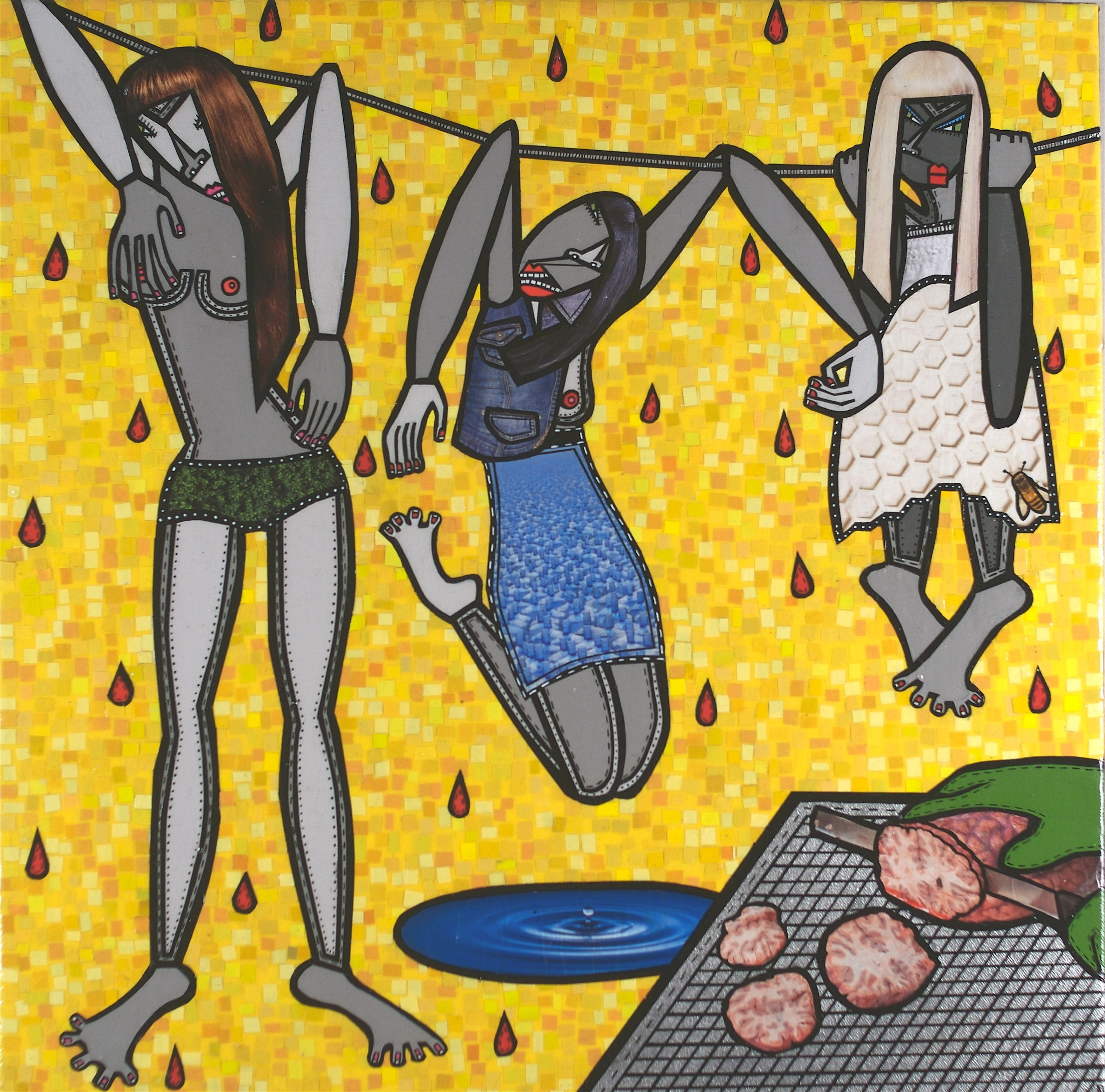 """Tenderloin, acrylic and paper collage on canvas, 20"""" x 20"""", 2009, private collection"""