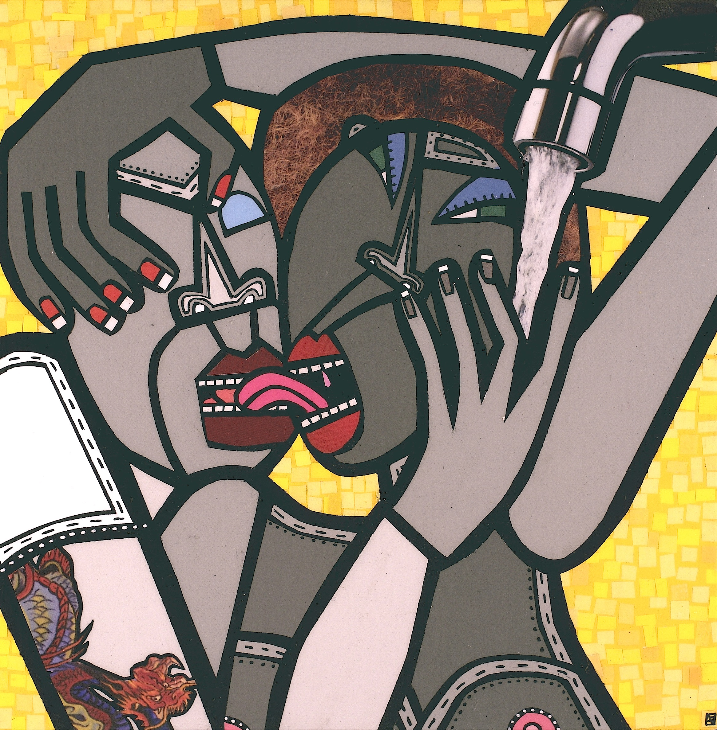 Untitled, acrylic and paper collage on canvas, 2009, private collection