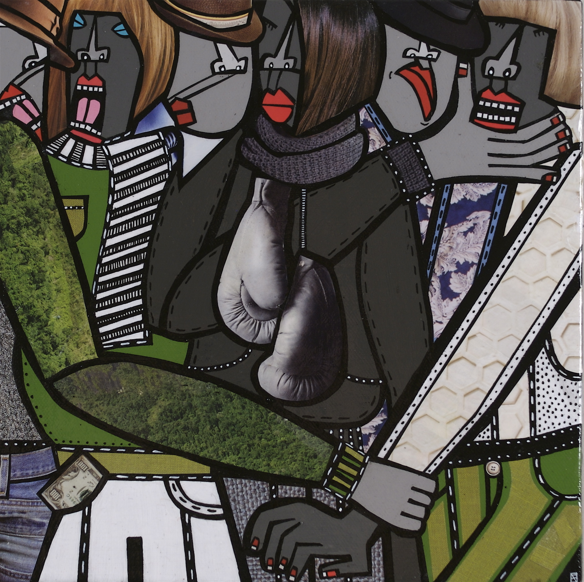 """Devilution 5, acrylic and paper collage on canvas, 10"""" x10"""", 2009, private collection"""