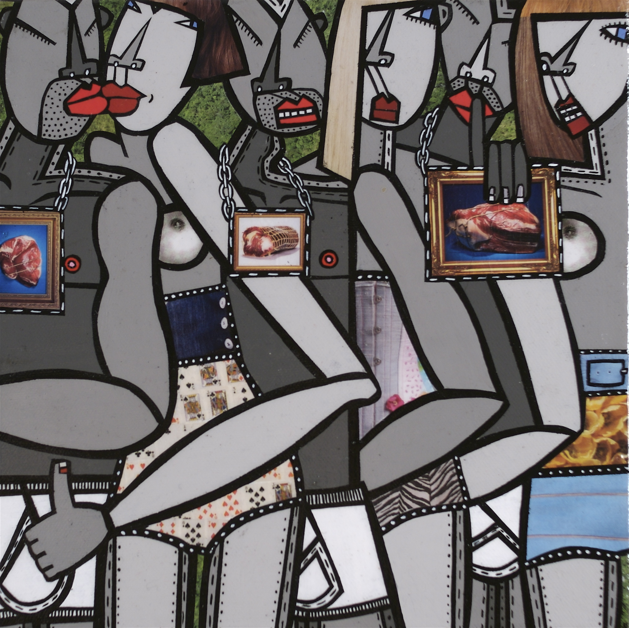 """Devilution 3, acrylic and paper collage on canvas, 10"""" x10"""", 2009, private collection"""