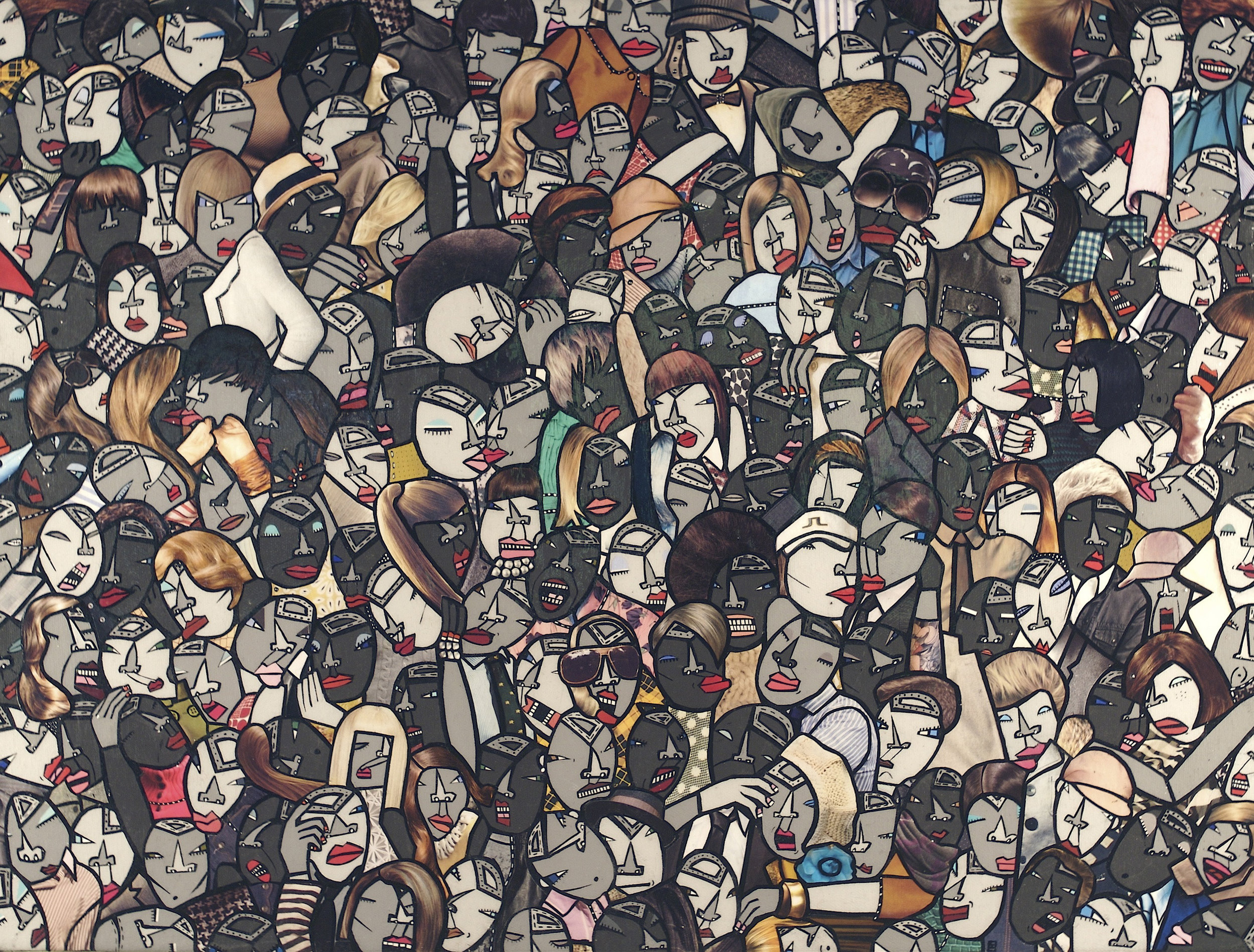 Face it! (part 1), acrylic and paper collage on canvas, 2009, private collection