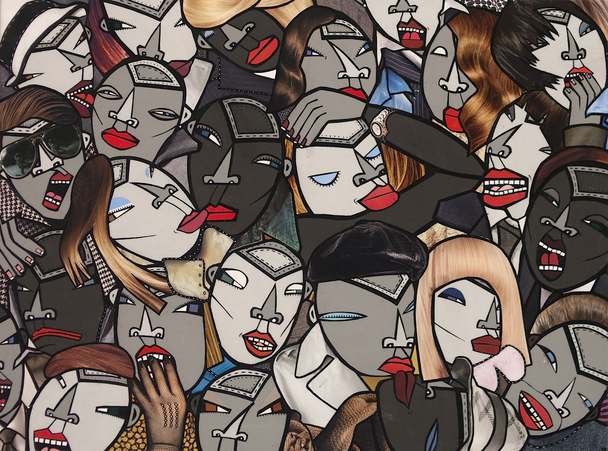 Face it! (part 3), acrylic and paper collage on canvas, 2009, private collection