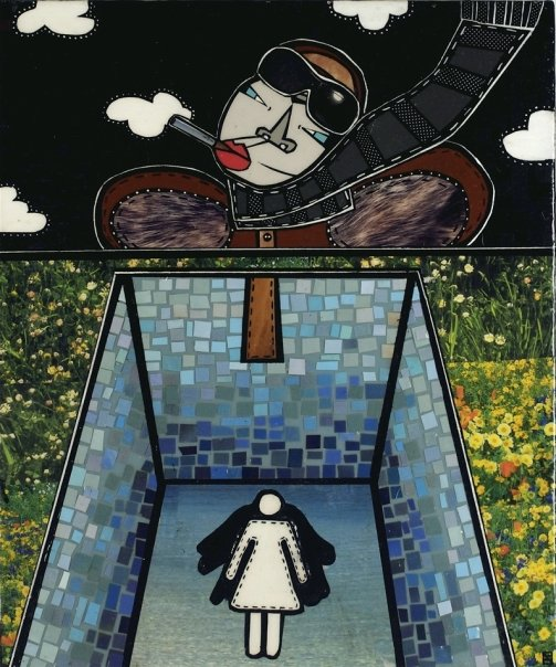 """Leap of Faith, acrylic and paper collage on canvas, 12""""x 10"""", 2007, private collection"""