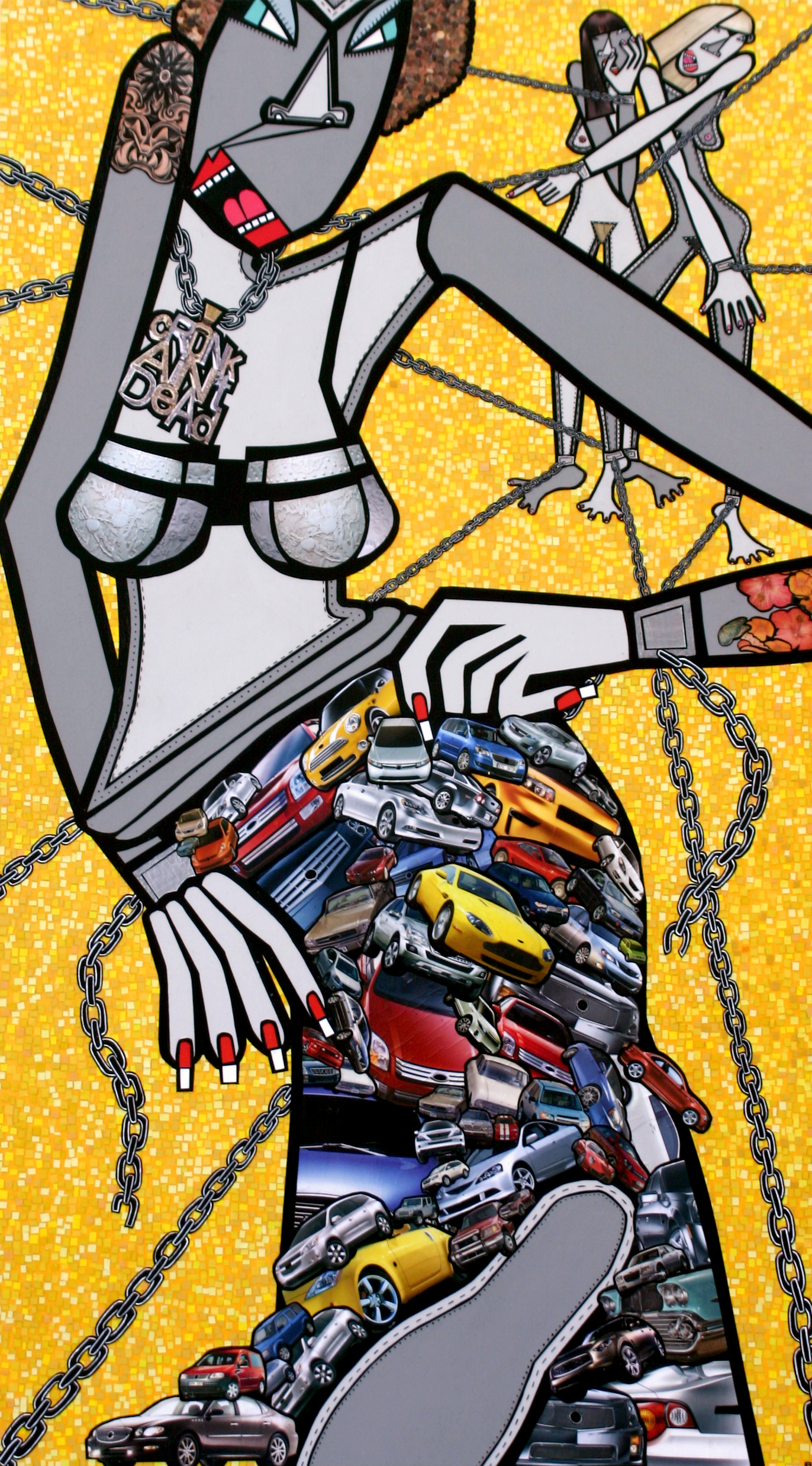 """♂♀ NO MORE!, acrylic and paper collage on canvas, 50"""" x 28"""", 2009, private collection"""