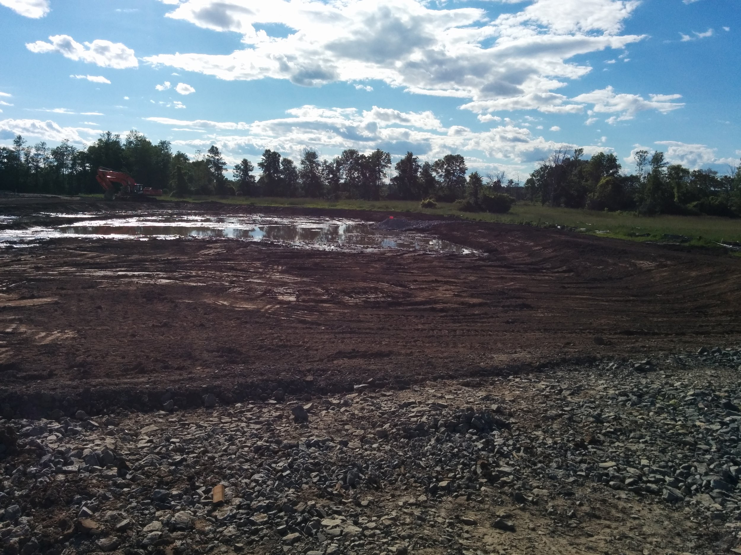 Storm-water management pond, completed excavation.