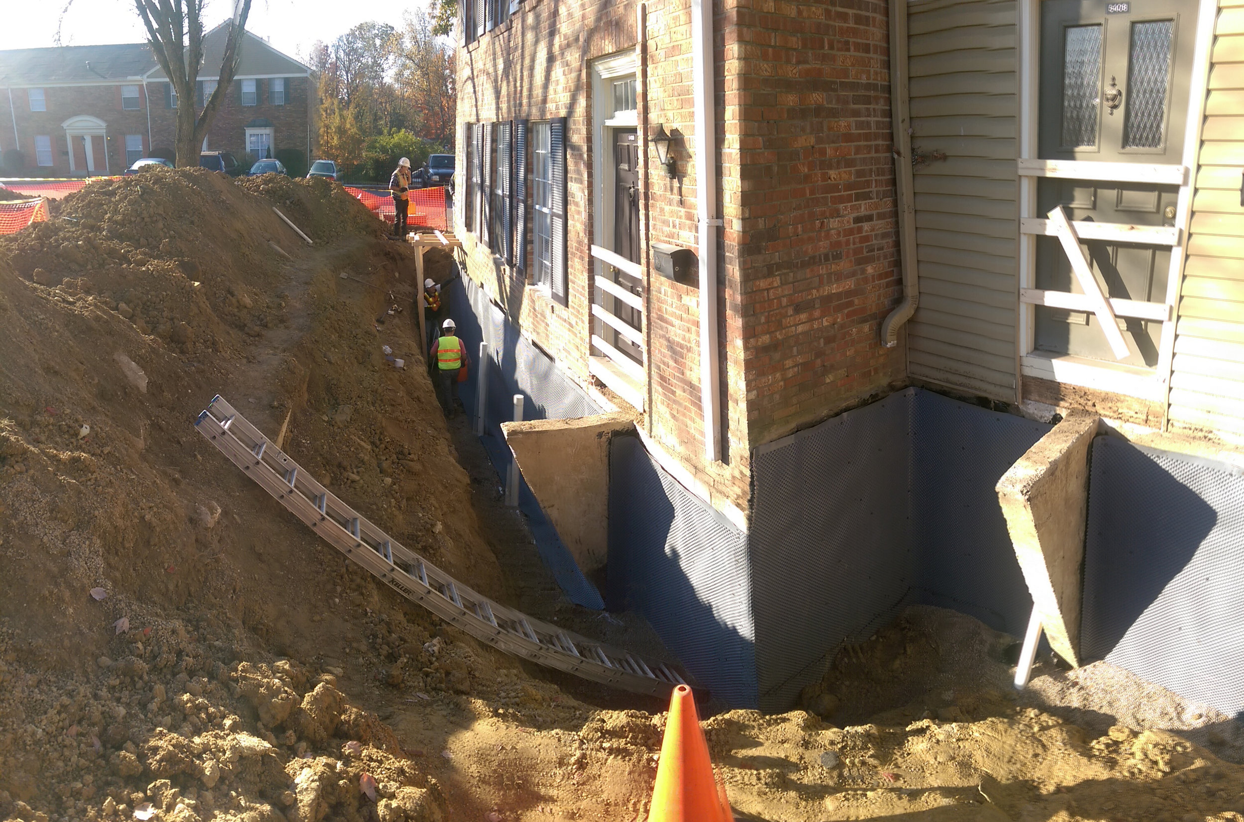 Basement excavated, with new drainage and waterproofing.